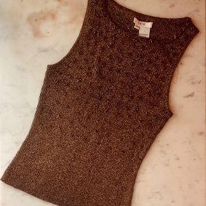 cache | Bronze Gold Metallic Star Sweater Top
